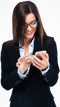 Woman reading on her phone